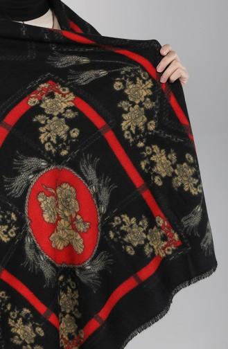 Desenli Kaşmir Omuz ve Boyun Şalı 42500-01 Siyah 42500-01
