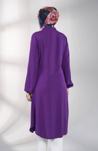 Hidden Button Long Tunic 3172-06 Purple 3172-06