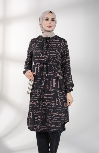 Hooded Long Tunic 3173-02 Black Dry Rose 3173-02