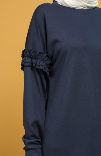 Sleeve Frilled Sweatshirt 8227-08 Indigo 8227-08