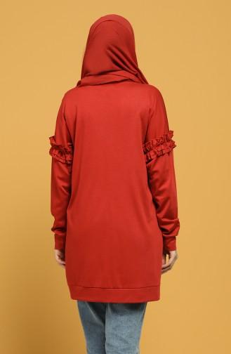 Rüschenärmel Sweatshirt 8227-04 Ziegelrot 8227-04