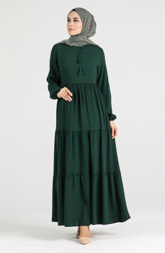 Smaragdgrün Hijap Kleider 4556-05