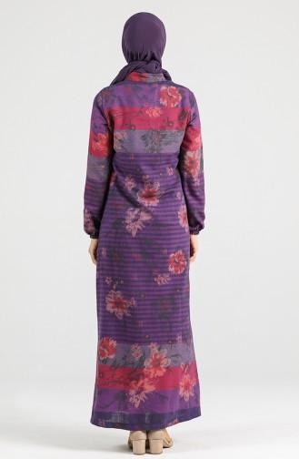 Floral-patterned Buttoned Dress 5164-07 Purple 5164-07