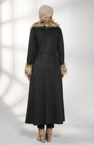Kürklü Süet Kaban 1783-01 Siyah