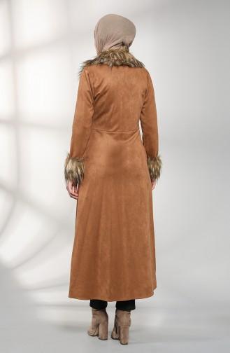 Kürklü Süet Kaban 1783-02 Camel