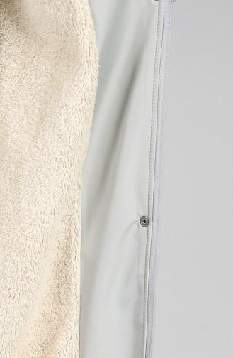 Hooded Fur Coat 0504-10 Light Gray 0504-10