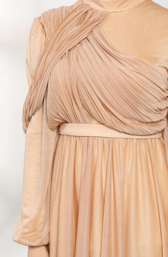 Gold Hijab-Abendkleider 1025-02