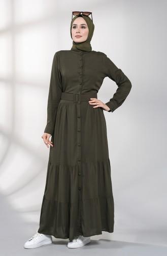 Khaki Hijap Kleider 4555-01