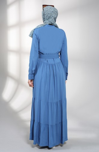 Düğmeli Tesettür Elbise 4555-02 İndigo