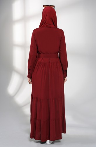 Buttoned Hijab Dress 4555-06 Burgundy 4555-06