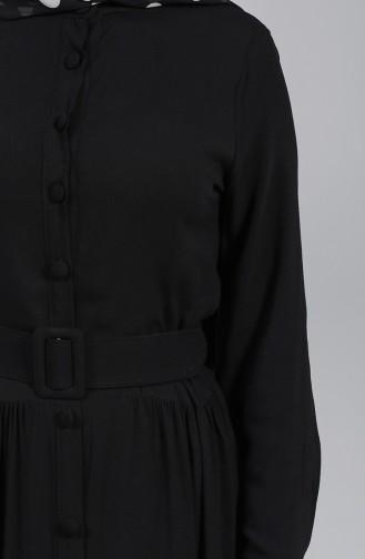 Düğmeli Tesettür Elbise 4555-07 Siyah