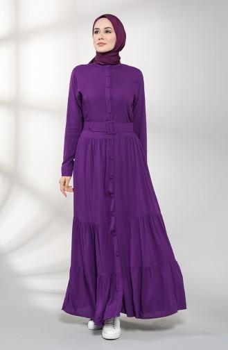 Buttoned Hijab Dress 4555-08 Purple 4555-08