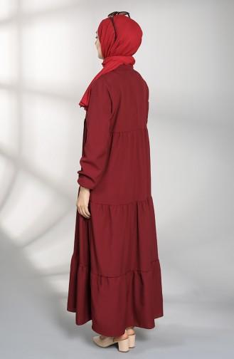 Claret Red Hijab Dress 5160-04