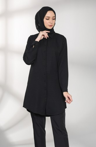 Patterned Buttoned Tunic 2020-03 Black 2020-03