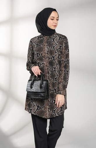 Patterned Buttoned Tunic 2020a-01 Black Mink 2020A-01