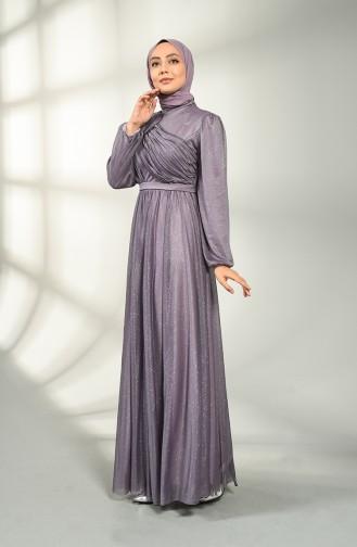 Dark Lilac İslamitische Avondjurk 1025-07