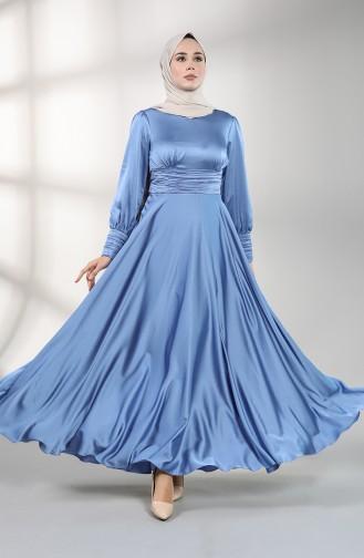 Shirred Satin Evening Dress 4834-03 Blue 4834-03
