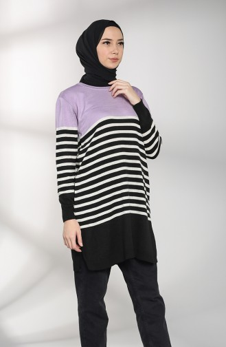 Knitwear Striped Tunic 1515-05 Lilac 1515-05
