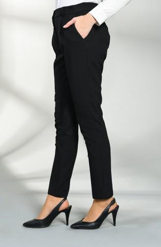 Straight Leg Pants with Pockets 1086-01 Black 1086-01