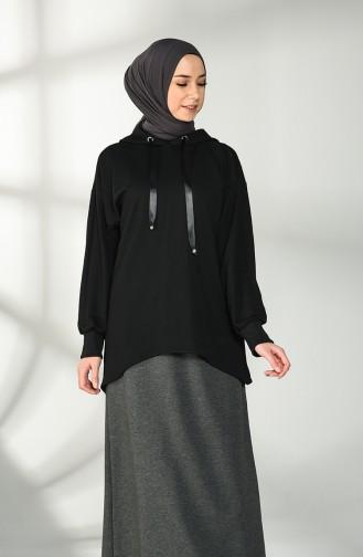 Kapüşonlu Sweatshirt 0035-01 Siyah