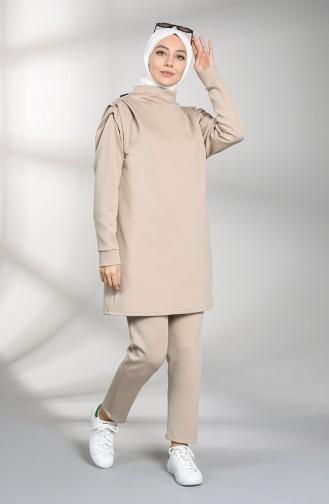 Scuba Fabric Tunic Trousers Double Suit 21002-03 Mink 21002-03