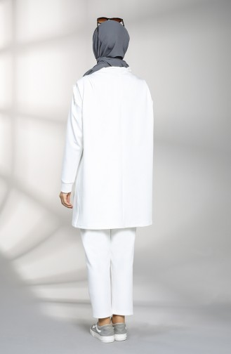 Scuba Fabric Tunic Trousers Double Suit 21002-04 White 21002-04