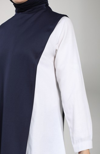 Scuba Fabric Tunic Trousers Double Suit 21013-02 Navy Blue 21013-02