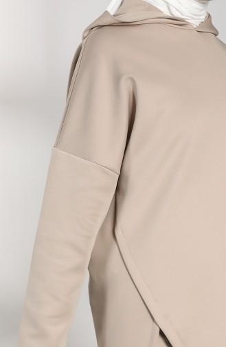 Scuba Kumaş Tunik Pantolon İkili Takım 21015-03 Vizon