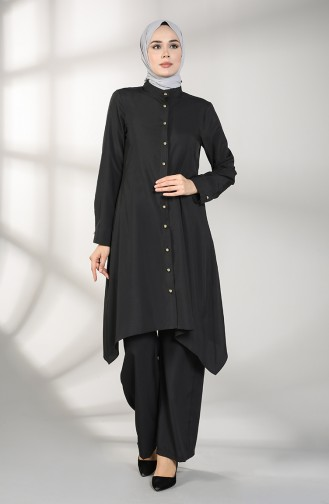 Buttoned Tunic Trousers Double Suit 5004-02 Black 5004-02