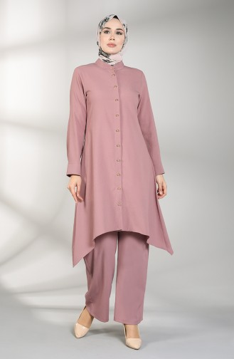 Buttoned Tunic Trousers Double Suit 5004-05 Dried Rose 5004-05