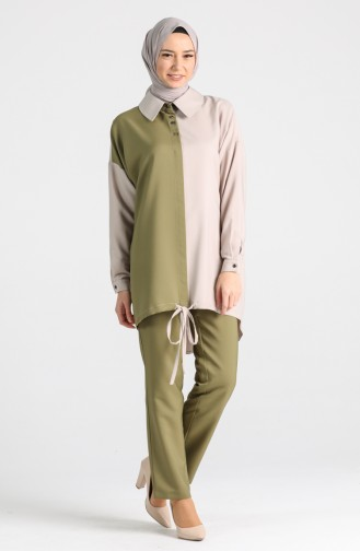 Buttoned Tunic Trousers Double Suit 15001-05 Khaki Mink 15001-05