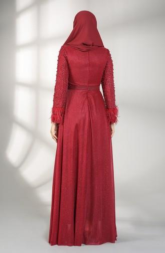 Weinrot Hijab-Abendkleider 3062-07