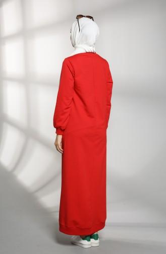 Cepli Spor Elbise 21K8114-03 Kırmızı