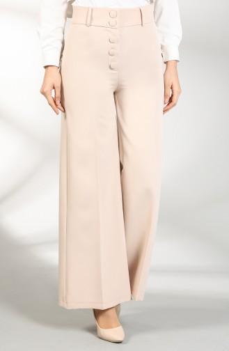 Buttoned Wide Leg Pants 3168-02 Beige 3168-02