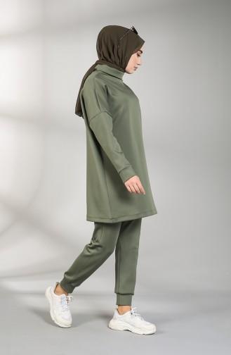 Scuba Fabric Tunic Trousers Double Suit 21001-08 Khaki 21001-08