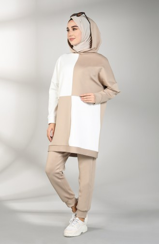 Scuba Fabric Hooded Tunic Trousers Double Suit 21007-01 White Mink 21007-01