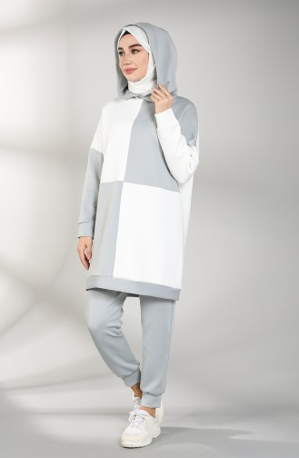 Scuba Fabric Hooded Tunic Trousers Double Suit 21007-02 White Gray 21007-02
