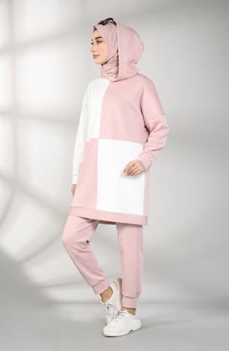 Scuba Fabric Hooded Tunic Trousers Double Suit 21007-03 White Powder 21007-03