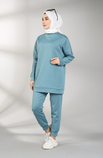 Scuba Fabric Tunic Trousers Double Suit 21009-02 Blue 21009-02