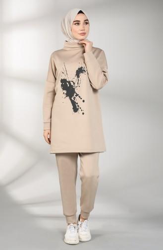 Scuba Fabric Tunic Trousers Double Suit 21010-01 Mink 21010-01