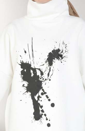 Scuba Kumaş Tunik Pantolon İkili Takım 21010-02 Beyaz