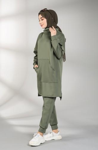 Scuba Fabric Pocket Tunic Trousers Double Suit 21011-03 Khaki 21011-03