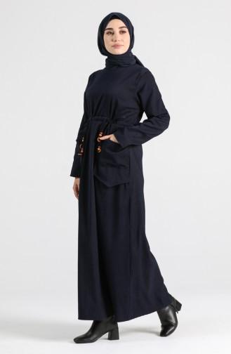Striped Dress with Pockets 21k8182-03 Navy Blue 21K8182-03