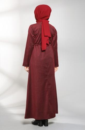 Striped Dress with Pockets 21k8182-05 Burgundy 21K8182-05