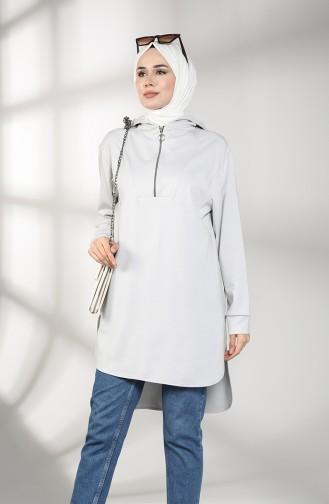 Hooded Asymmetric Tunic 8281-01 Gray 8281-01