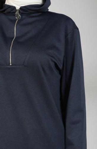 Hooded Asymmetric Tunic 8281-05 Navy Blue 8281-05