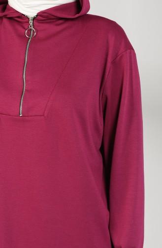 Hooded Asymmetric Tunic 8281-07 Fuchsia 8281-07