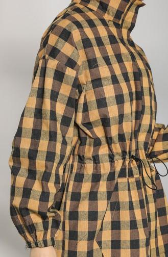 Beli Büzgülü Kısa Ceket 2010-03 Hardal Kahverengi