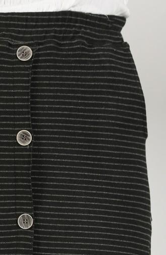 Çizgili Etek 9007C-01 Siyah