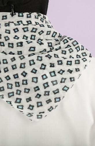 Desenli Şifon Fular 61814-01 Ekru Mint Mavi 61814-01